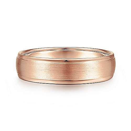 14K Rose Gold 6mm - Rounded Satin Polished Edge Men's Wedding Band