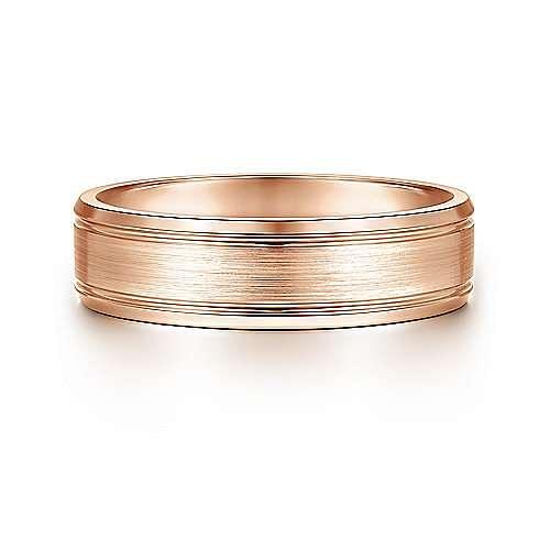 14K Rose Gold 6mm - Satin Channel Polished Edge Men's Wedding Band