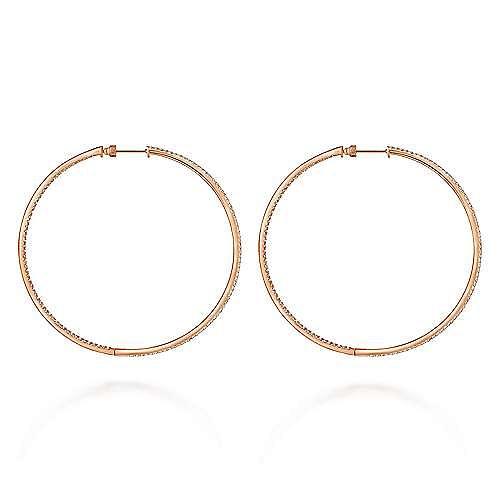 14K Rose Gold 70mm Classic Diamond Hoop Earrings