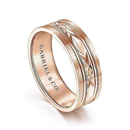 14K Rose Gold 7mm - Diamond Cut Center Men's Wedding Band
