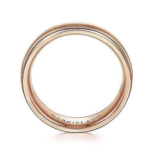 14K Rose Gold 7mm - Raised Center Milgrain Edge Men's Wedding Band