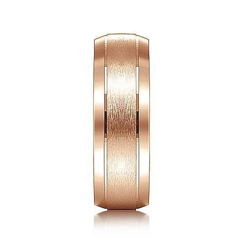 14K Rose Gold 7mm - Rounded Satin Center and Beveled Edge Men's Wedding Band