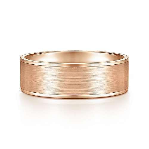 14K Rose Gold 7mm - Satin Finish and Polished Edge Men's Wedding Band