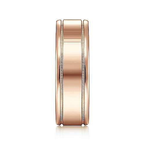 14K Rose Gold 7mm - Satin Milgrain Channel Men's Wedding Band