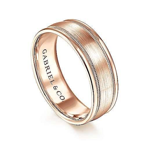 14K Rose Gold 7mm - Satin Milgrain Channel Polished Edge Men's Wedding Band