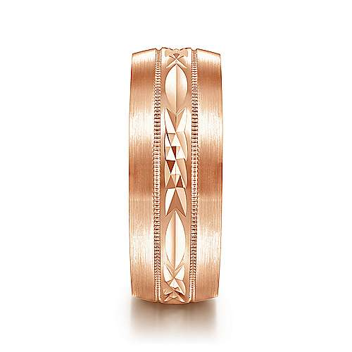 14K Rose Gold 8mm - Engraved Center Pattern, Milgrain Channel Men's Wedding Band