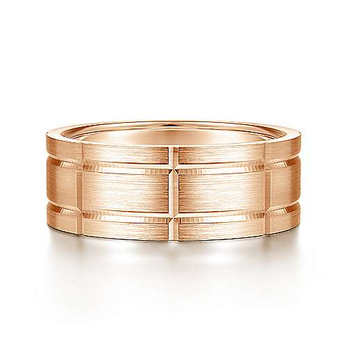 14K Rose Gold 8mm - Grooved Elongated Checkered Pattern Men's Wedding Band