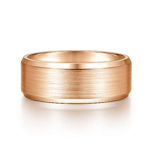 14K Rose Gold 8mm - Satin Center and Beveled Edge Men's Wedding Band