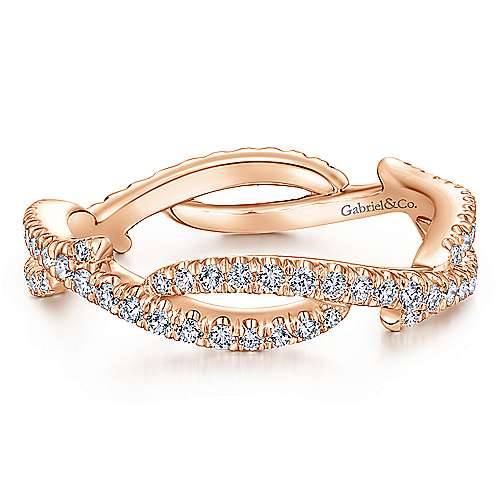 14K Rose Gold Abstract Twisted Diamond Eternity Ring