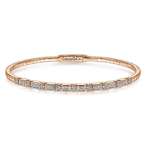 14K Rose Gold Alternating Baguette and Round Diamond Bangle