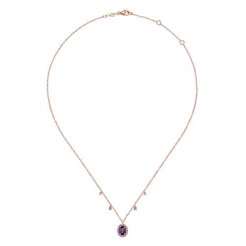 14K Rose Gold Amethyst Oval and Diamond Halo Pendant Necklace with Side Drops