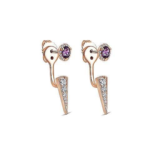 14K Rose Gold Amethyst and Diamond Earrings