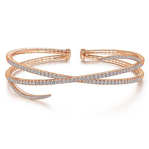14K Rose Gold Asymmetrical Criss Cross Diamond Bangle
