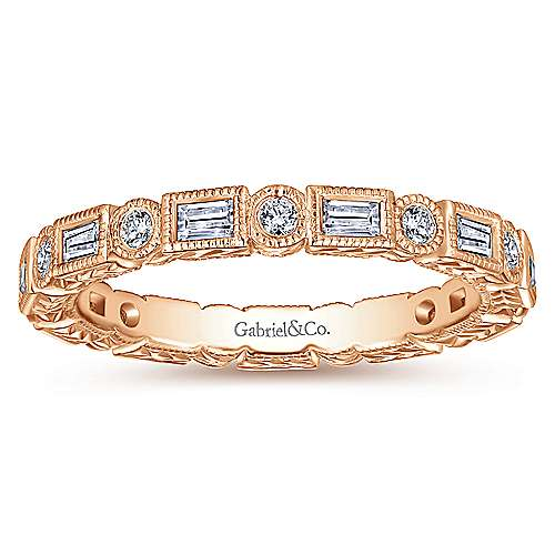 14K Rose Gold Baguette and Round Diamond Eternity Ring