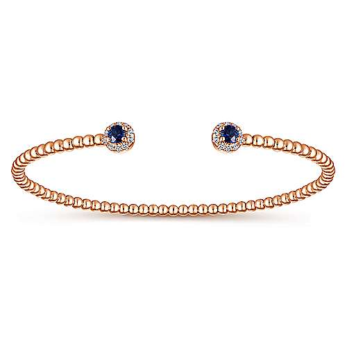 14K Rose Gold Bangle with Blue Sapphires