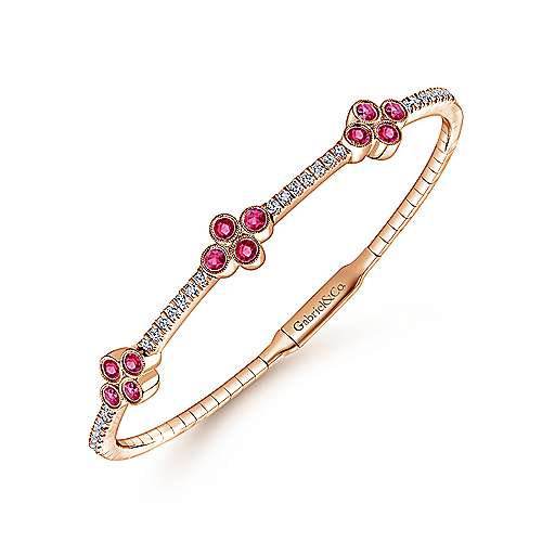 14K Rose Gold Bangle with Diamond and Ruby Quatrefoil Stations