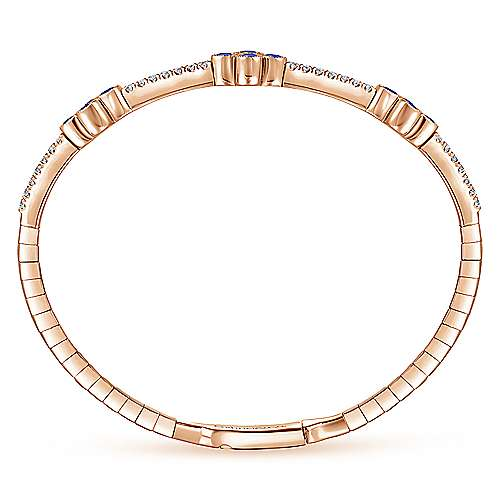 14K Rose Gold Bangle with Diamond and Sapphire Quatrefoil Stations