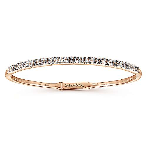 14K Rose Gold Bangle with Double Diamond Rows