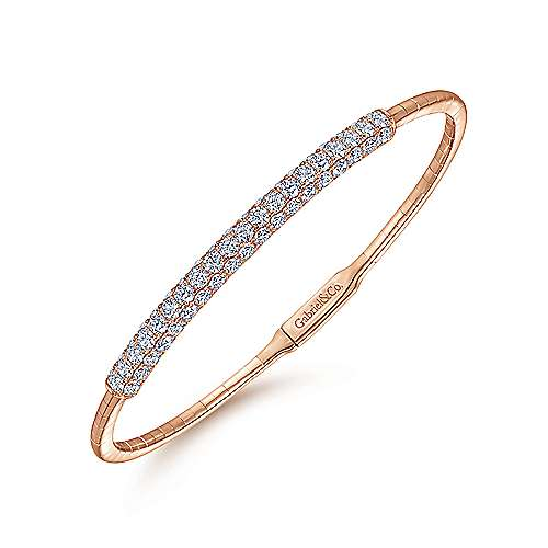 14K Rose Gold Bangle with Pavé Diamond Accents