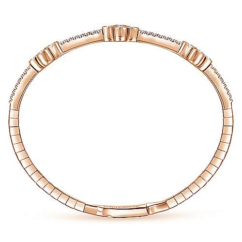 14K Rose Gold Bangle with Quatrefoil Diamond Stations