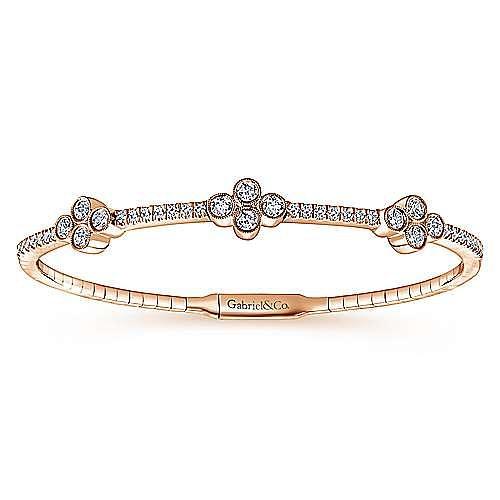14K Rose Gold Bangle with Quatrefoil Diamond Stations