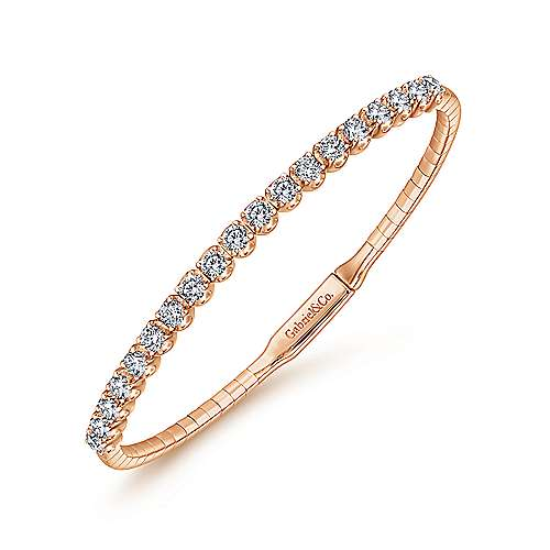 14K Rose Gold Bangle with Round Diamond Accents