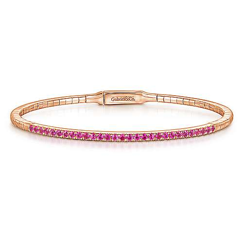 14K Rose Gold Bangle with Rubies