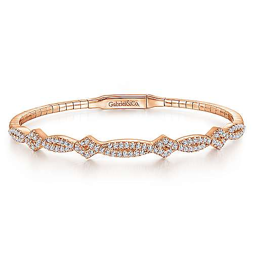 14K Rose Gold Bangle with Twisted Diamond Accent