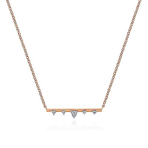 14K Rose Gold Bar Necklace with Diamond Triangle Stations