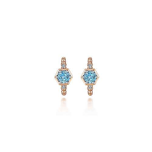 14K Rose Gold Beaded 10MM Blue Topaz and Diamond Huggies