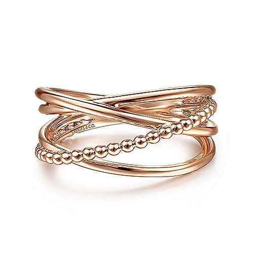 14K Rose Gold Beaded 40mm Round Classic Hoop Earrings