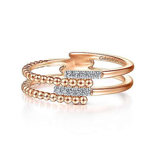 14K Rose Gold Beaded Diamond Ring