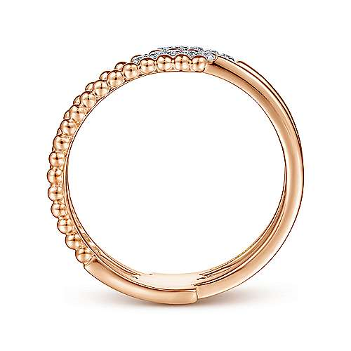 14K Rose Gold Beaded Interlocking Diamond Ring