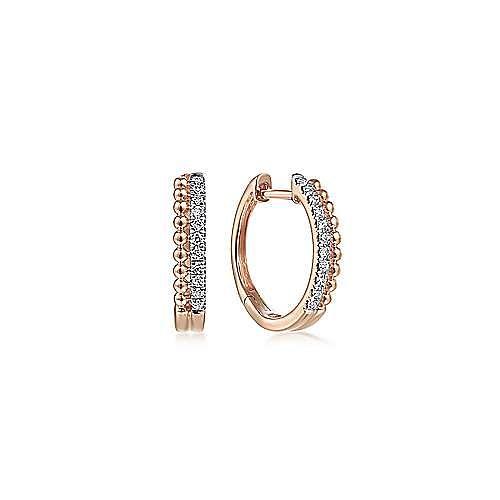 14K Rose Gold Beaded Pavé 10mm Diamond Huggies
