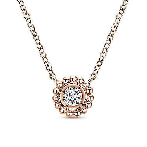 14K Rose Gold Beaded Round Bezel Set Diamond Pendant Necklace
