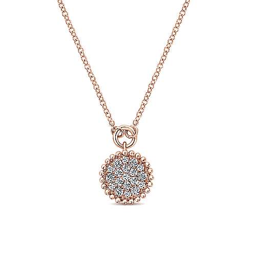 14K Rose Gold Beaded Round Diamond Cluster Pendant Necklace