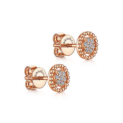 14K Rose Gold Beaded Round Diamond Cluster Stud Earrings