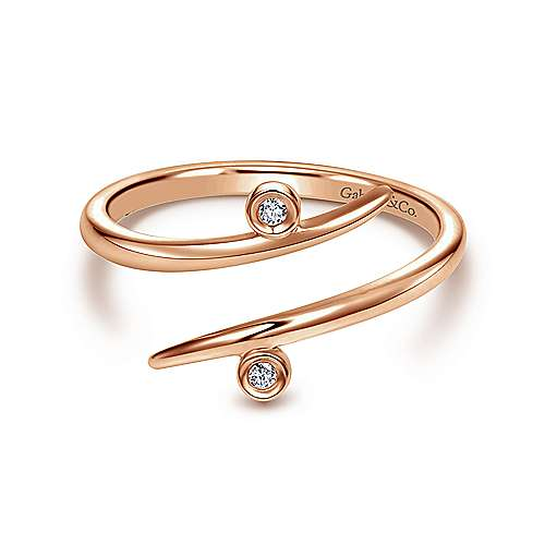 14K Rose Gold Bezel Set Diamond Midi Open Wrap Ring