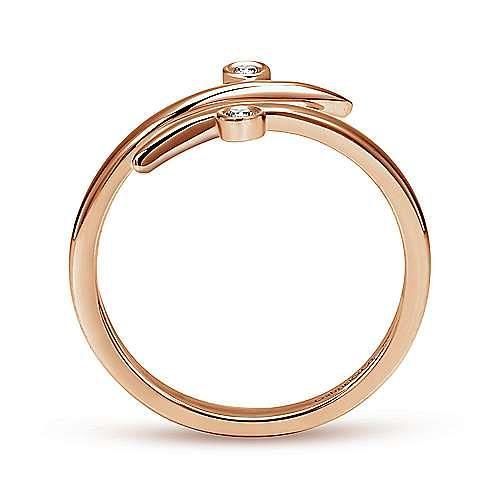 14K Rose Gold Bezel Set Diamond Midi Open Wrap Ring