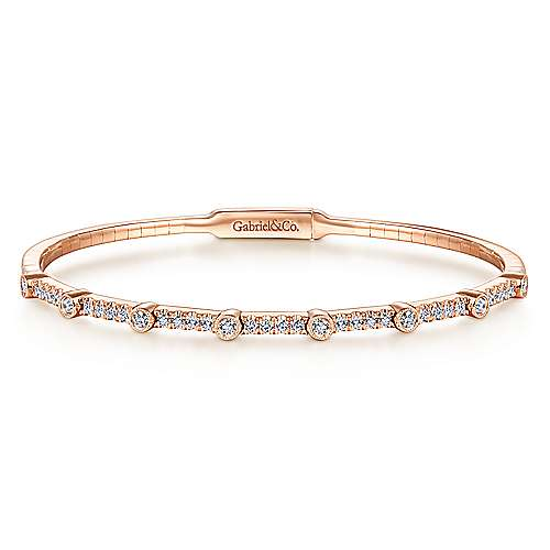 14K Rose Gold Bezel Station Diamond Bangle