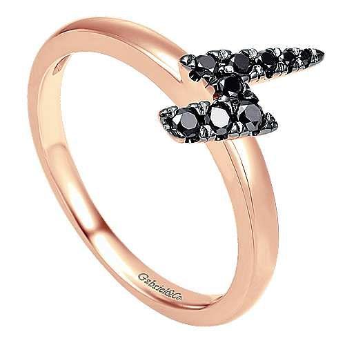 14K Rose Gold Black Diamond Lightning Bolt Ring