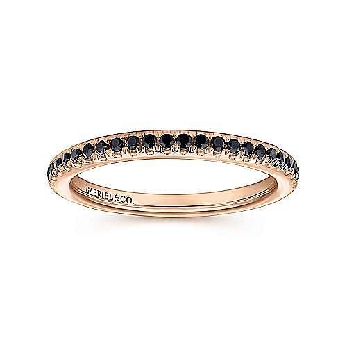 14K Rose Gold Black Diamond Stackable Ring