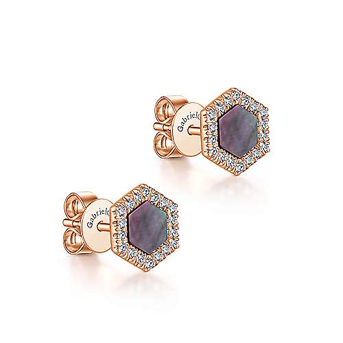 14K Rose Gold Black Mother of Pearl and Diamond Earrings