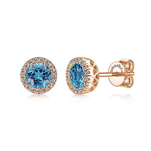 14K Rose Gold Blue Topaz and Diamond Halo Stud Earrings