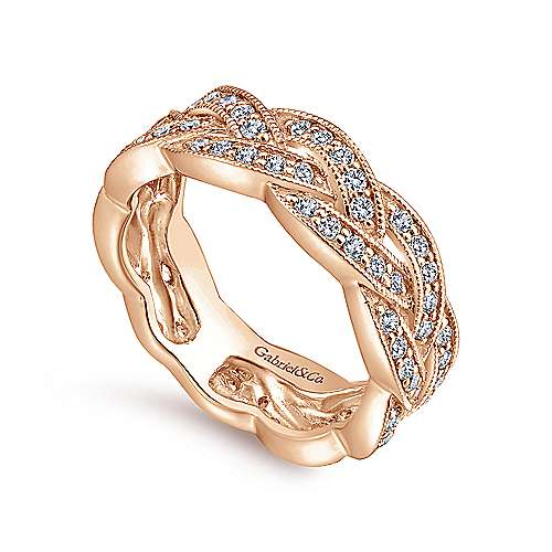 14K Rose Gold Braided Diamond Stackable Ring