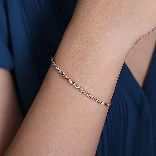14K Rose Gold Bujukan Bead Cuff Bracelet with Bezel Set Diamond Stations