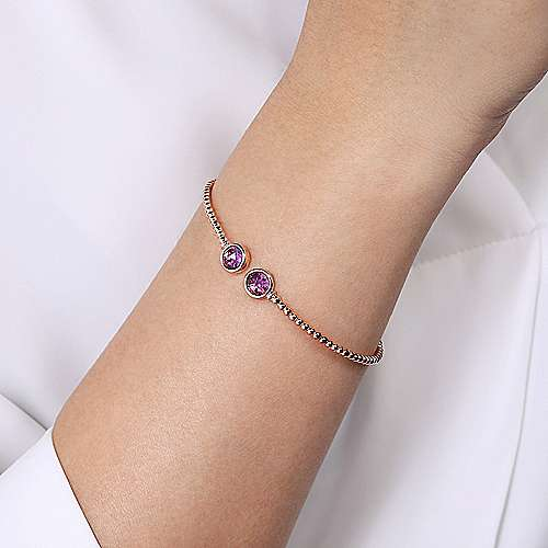 14K Rose Gold Bujukan Bead Cuff Bracelet with Bezel Set Round Amethyst