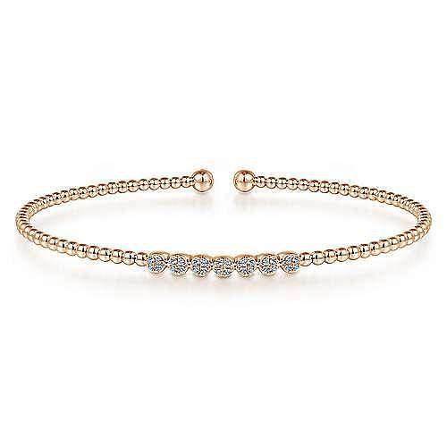 14K Rose Gold Bujukan Bead Cuff Bracelet with Cluster Diamond Stations