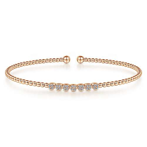 14K Rose Gold Bujukan Bead Cuff Bracelet with Cluster Diamond Stations
