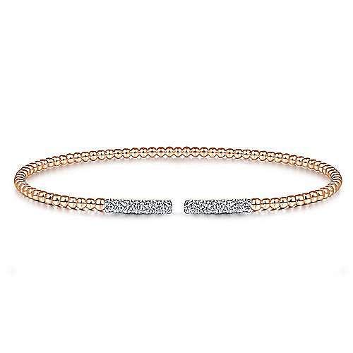 14K Rose Gold Bujukan Bead Cuff Bracelet with Diamond Pavé Bars